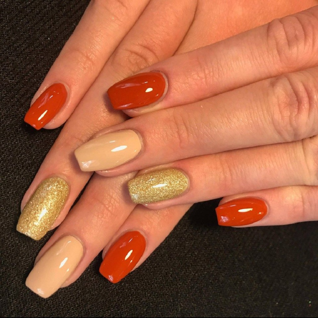 Fall nail design with nude - orange gel nail polish